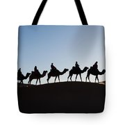 Tourists On Camels Along Top Of Erg Tote Bag