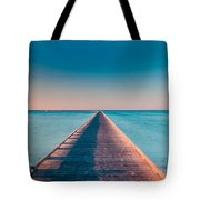 Towards The Sunshade At The Sea Tote Bag by Julis Simo