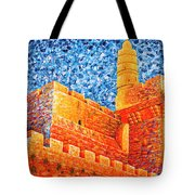 Tower Of David At Night Jerusalem Original Palette Knife Painting Tote Bag