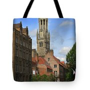 Tower Of The Belfrey From The Canal At Rozenhoedkaai Tote Bag