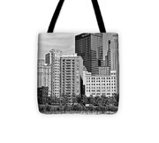 Tower Over Pittsburgh In Black And White Tote Bag