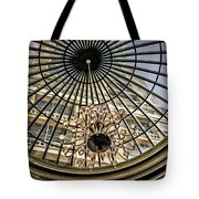 Tower Through Glass Dome In Bellagio Ceiling Tote Bag