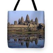 Towers Of Angkor Wat And Lake Tote Bag