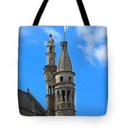 Towers Of The Town Hall In Bruges Belgium Tote Bag