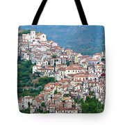Town Clinging To A Hill Top In Southern Italy Tote Bag