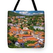Town Of Drnis And Dalmatian Inland Panorama Tote Bag
