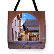 Town Of Kastelruth In Alps Street View Tote Bag