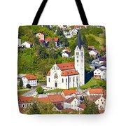 Town Of Krapina Church Vertical View Tote Bag