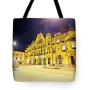 Town Of Ptuj Historic Main Square Evening View Tote Bag