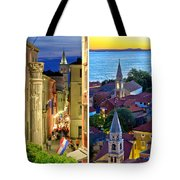 Town Of Zadar Evening And Sunset Travel Collage Tote Bag