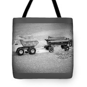 Toy Truck In Black And White Tote Bag