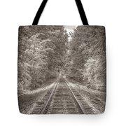 Tracks Bw Tote Bag