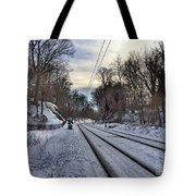 Tracks Into The Sunset Tote Bag