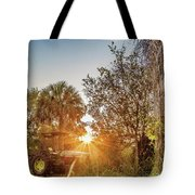 Tractor At Sunset Tote Bag