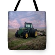 Tractor In A Field - Early Morning Tote Bag