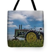 Tractor In Field Tote Bag