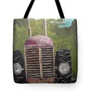 Tractor In The Garden Tote Bag