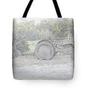 Tractor   Pencil Drawing Tote Bag