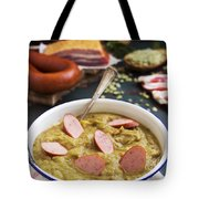 Traditional Dutch Pea Soup And Ingredients On A Rustic Table Tote Bag