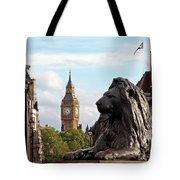 Trafalgar Square Lion With Big Ben Tote Bag