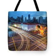 Traffic Light Trails In Singapore Chinatown Tote Bag