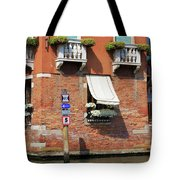 Traffic Signs On The Canal In Venice Italy Tote Bag