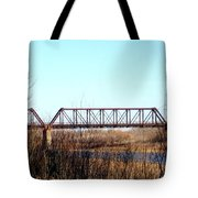 Train Bridge Over Red River From Texas To Oklahoma Tote Bag