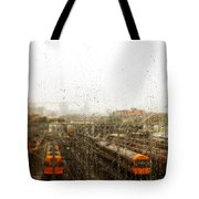 Train In The Rain Tote Bag