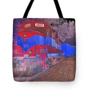 Train On Railroad Tracks - Abstract In Blue And Red Tote Bag