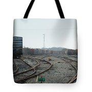 Train On Tracks Tote Bag