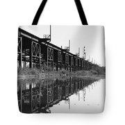 Train Track Reflections Tote Bag