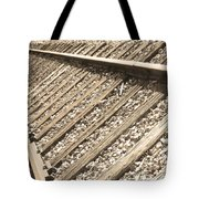 Train Tracks Sepia Triangular  Tote Bag
