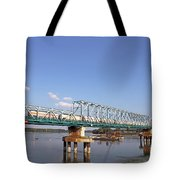 Train With Tank Wagon On Bridge Tote Bag