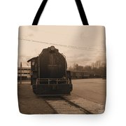 Trains 3 Sepia Tote Bag