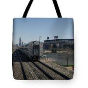 Trains Passing The Home Of The Chicago White Sox Tote Bag
