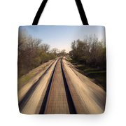 Trains Power Approaching The Crossing Tote Bag