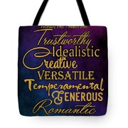Traits Of A Pisces Tote Bag by Mamie Thornbrue