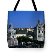 Trajan's Column Church Of Santa Maria Di Loreto Church Of Our Lady Giclee Rome Italy Tote Bag