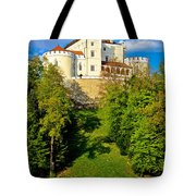Trakoscan Castle And Green Lake  Tote Bag