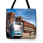 Tram In Front Of Oslo City Hall Tote Bag