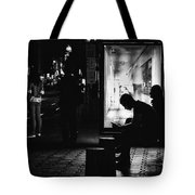 Tram Station Silhouettes Tote Bag