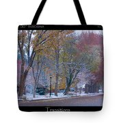 Transitions Autumn To Winter Snow Poster Tote Bag