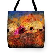 Travel Exotic Woman On Ramparts Mehrangarh Fort India Rajasthan 1h Tote Bag