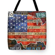Travel The Usa One Plate At A Time License Plate Art By Design Turnpike Tote Bag