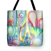 Travel To Planet Of Ball-shaped Flowers Tote Bag
