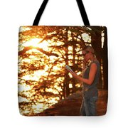 Traveler Woman In The Forest Tote Bag