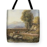 Travelers In A Welsh Landscape Tote Bag