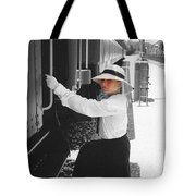 Traveling By Train - Black And White Focal Tote Bag