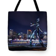 Traveling Man Stepping Out After Dark Tote Bag