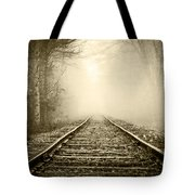 Traveling On The Tracks Antique Tote Bag